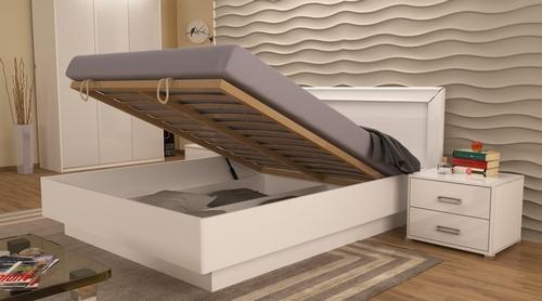 Кровать подъемная белая белый глянец